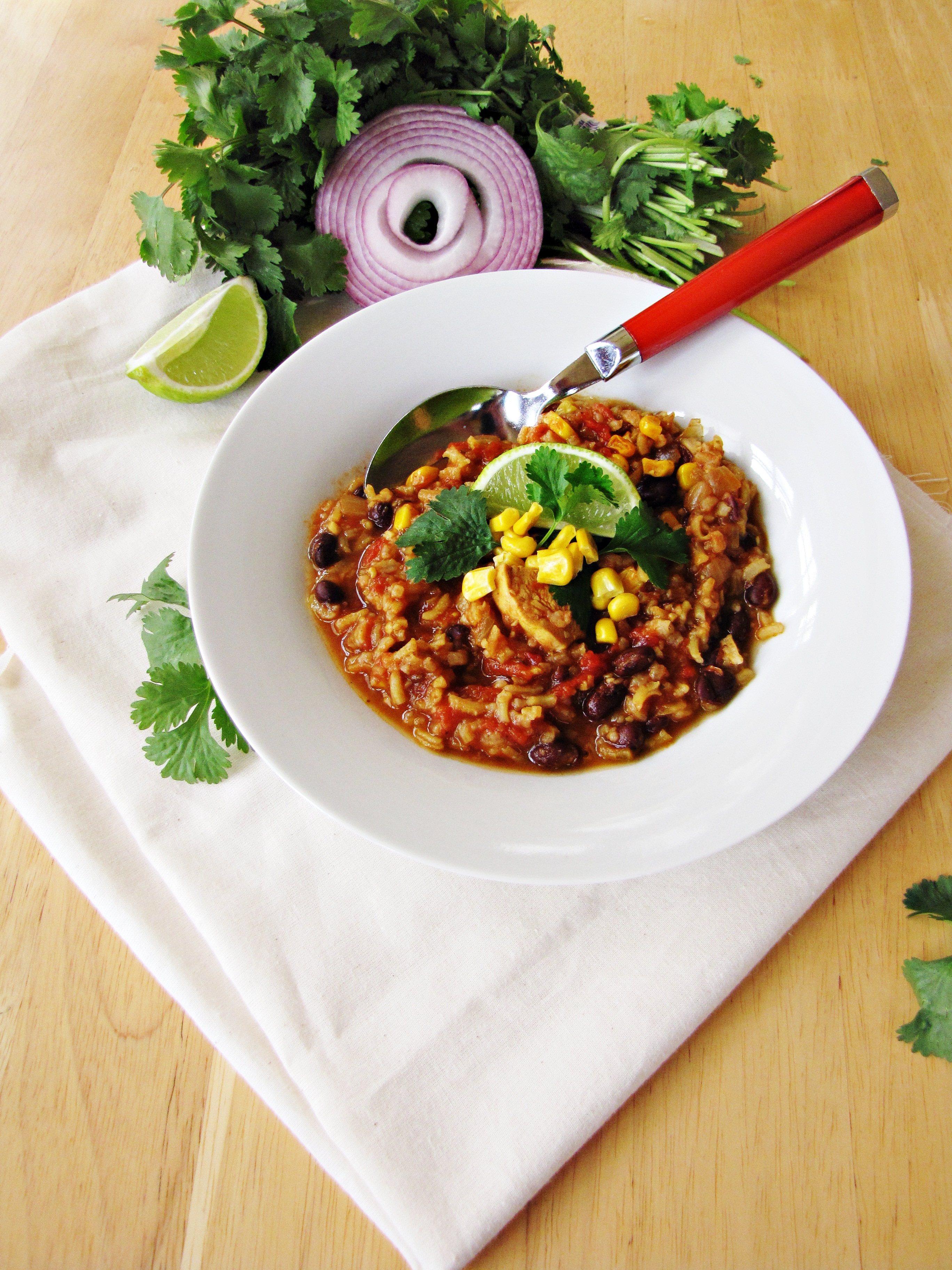 Chili-Chicken Stew with Black Beans and Rice - Katie at the Kitchen ...