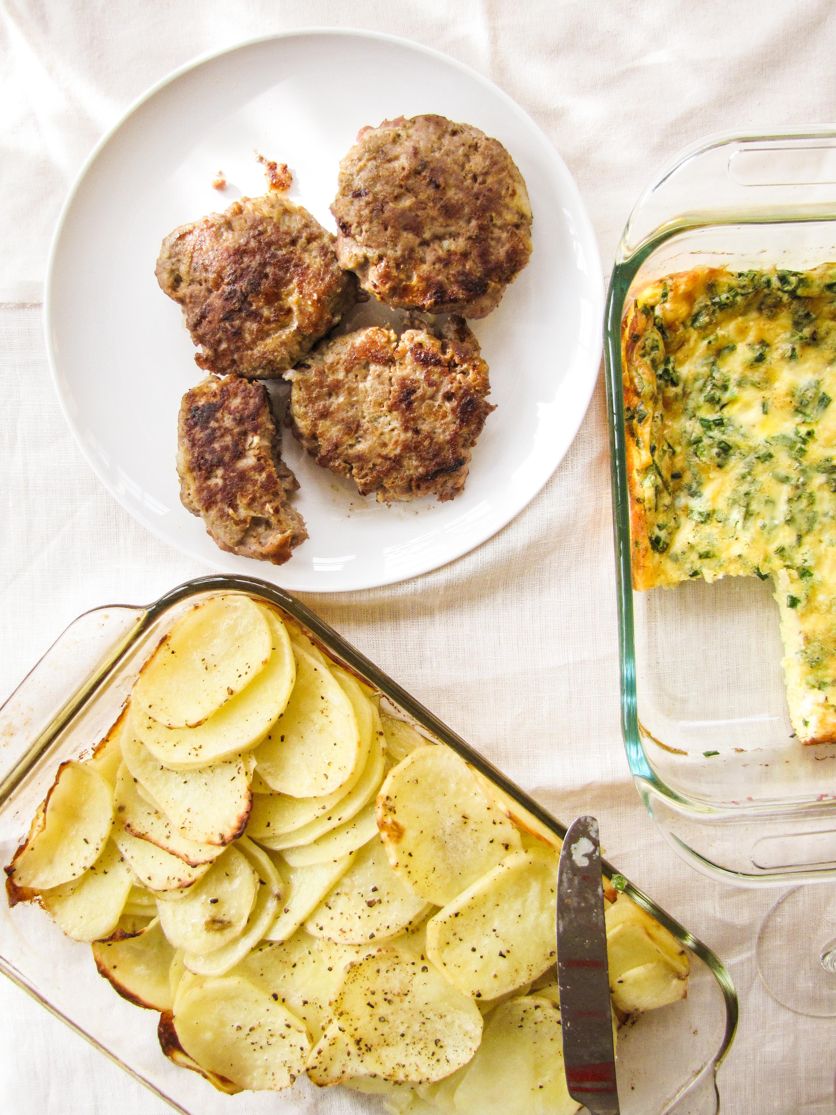 Christmas Morning Brunch - Spiced Turkey Sausage, Gruyere Egg Custard, Buttered Potatoes {Katie at the Kitchen Door}