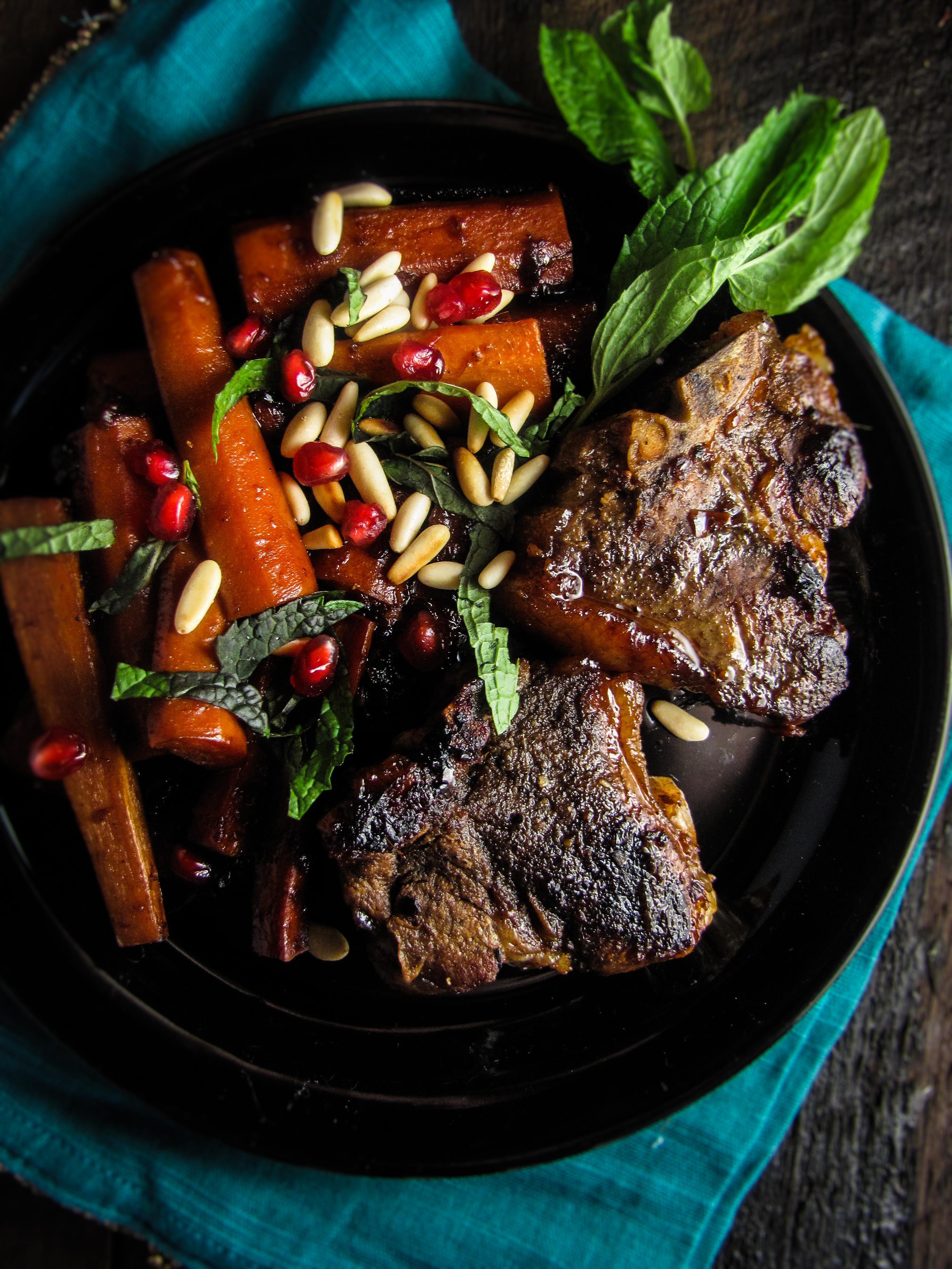 The Great Meat Cookbook: Pomegranate-Glazed Lamb Chops and Carrots