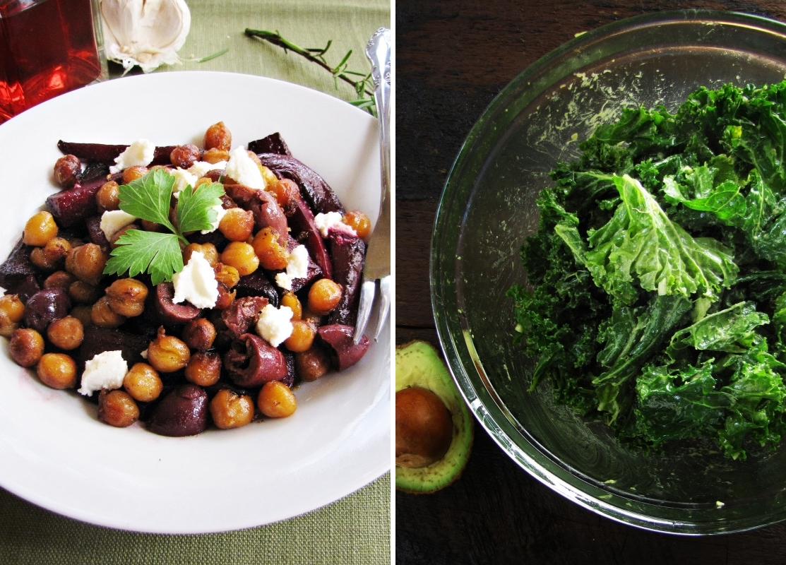 Winter Cleanse Week Two - Beet and Fried Chickpea Salad, Kale and Avocado Salad