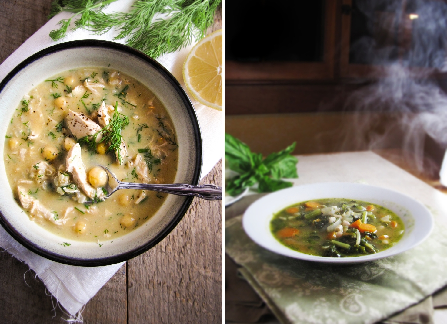 Winter Cleanse Week Two - Greek Egg and Lemon Soup with Chicken, Kale and White Bean Soup