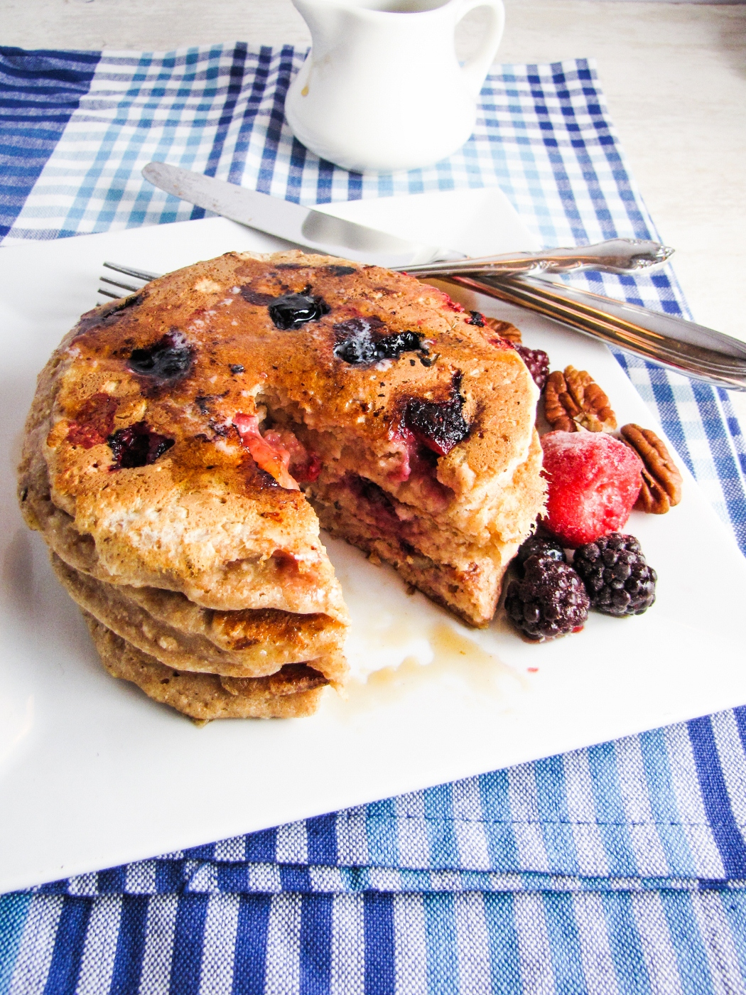 Healthy Fruit and Nut Pancakes {Katie at the Kitchen Door}