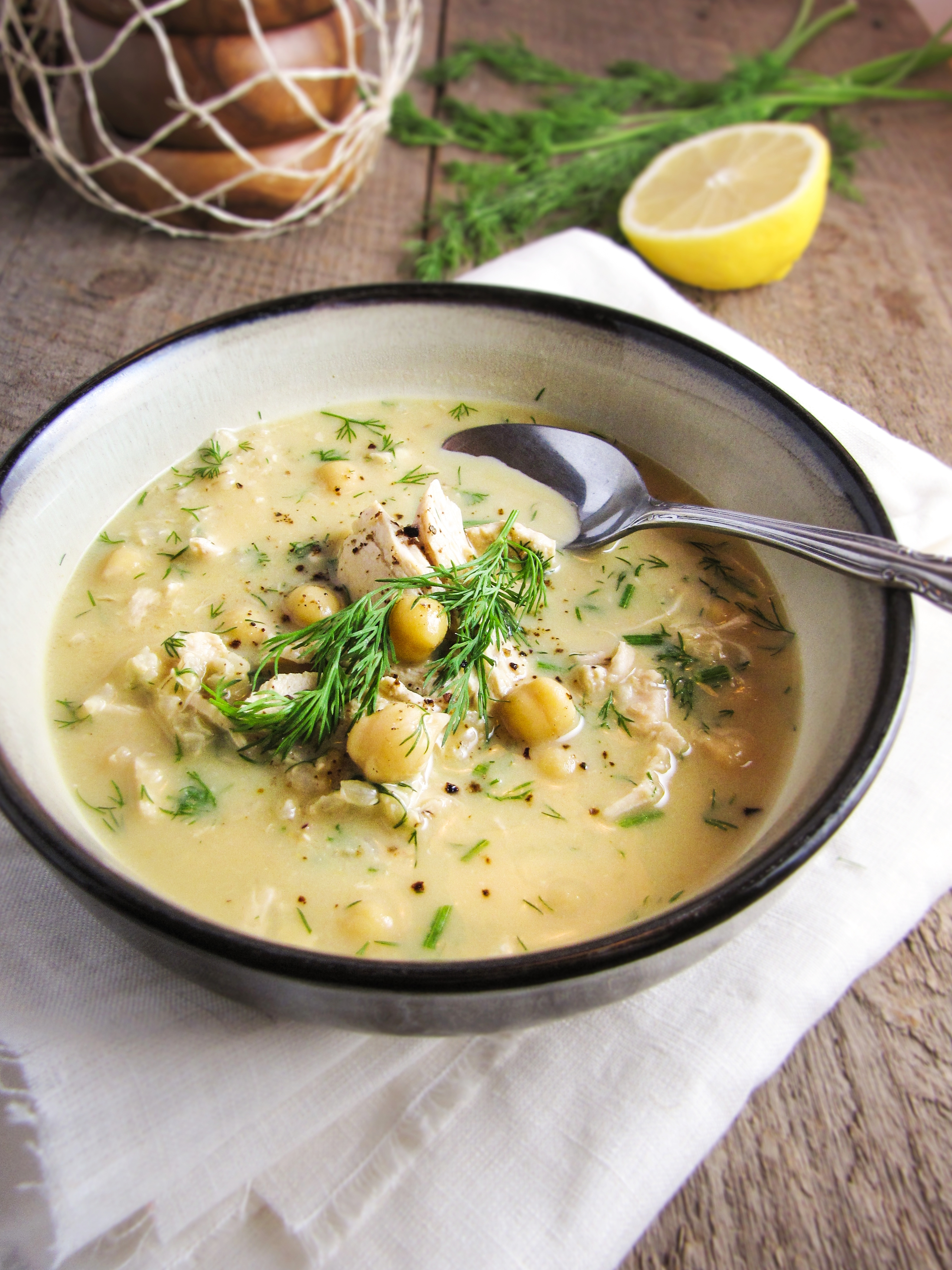 Greek Egg and Lemon Soup with Chicken, Brown Rice, and Chickpea {Katie at the Kitchen Door}