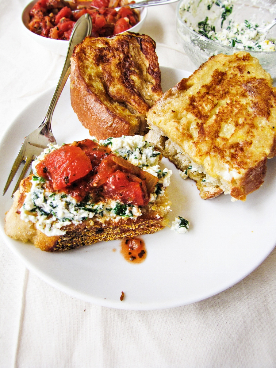 Italian-Style French Toast stuffed with Ricotta and Spinach {Katie at the Kitchen Door}