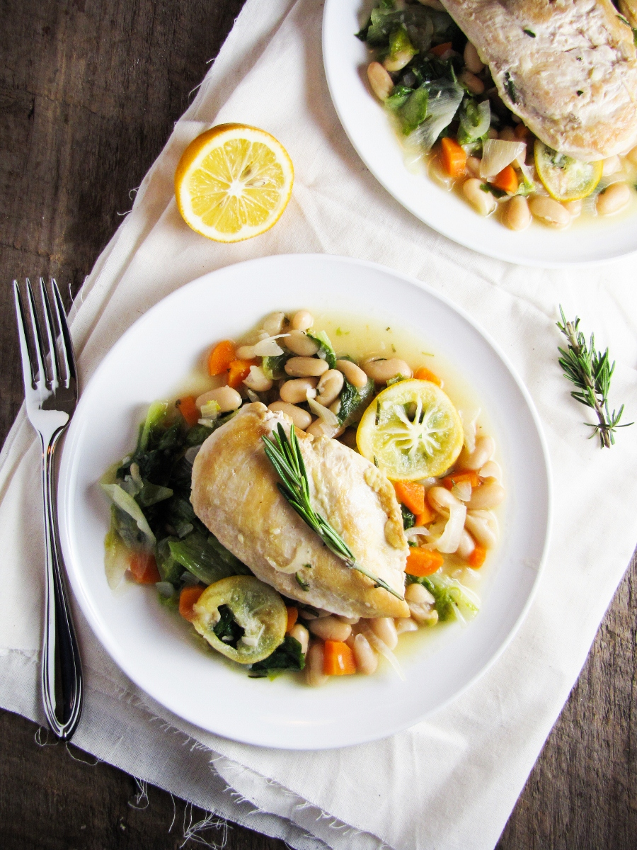 Meyer Lemon Chicken Breasts with White Beans and Wilted Escarole (from Blue Apron Meals)