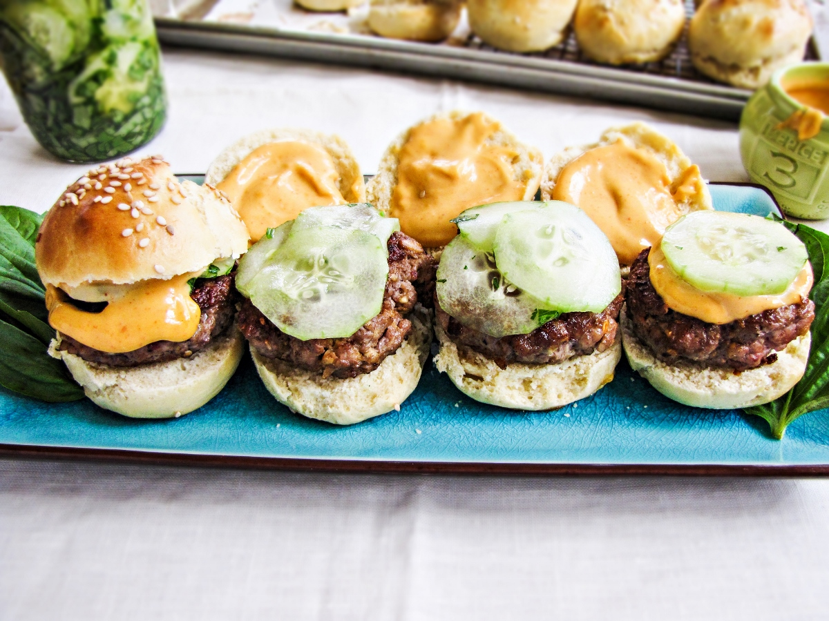Thai Pork Sliders with Pickled Cucumbers and Sriracha Aioli {Katie at the Kitchen Door}