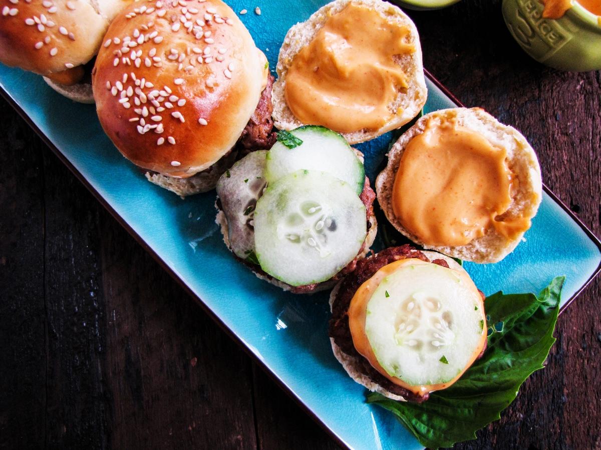 Thai Pork Sliders with Pickled Cucumbers and Sriracha Aioli {Katie at the Kitchen Door}