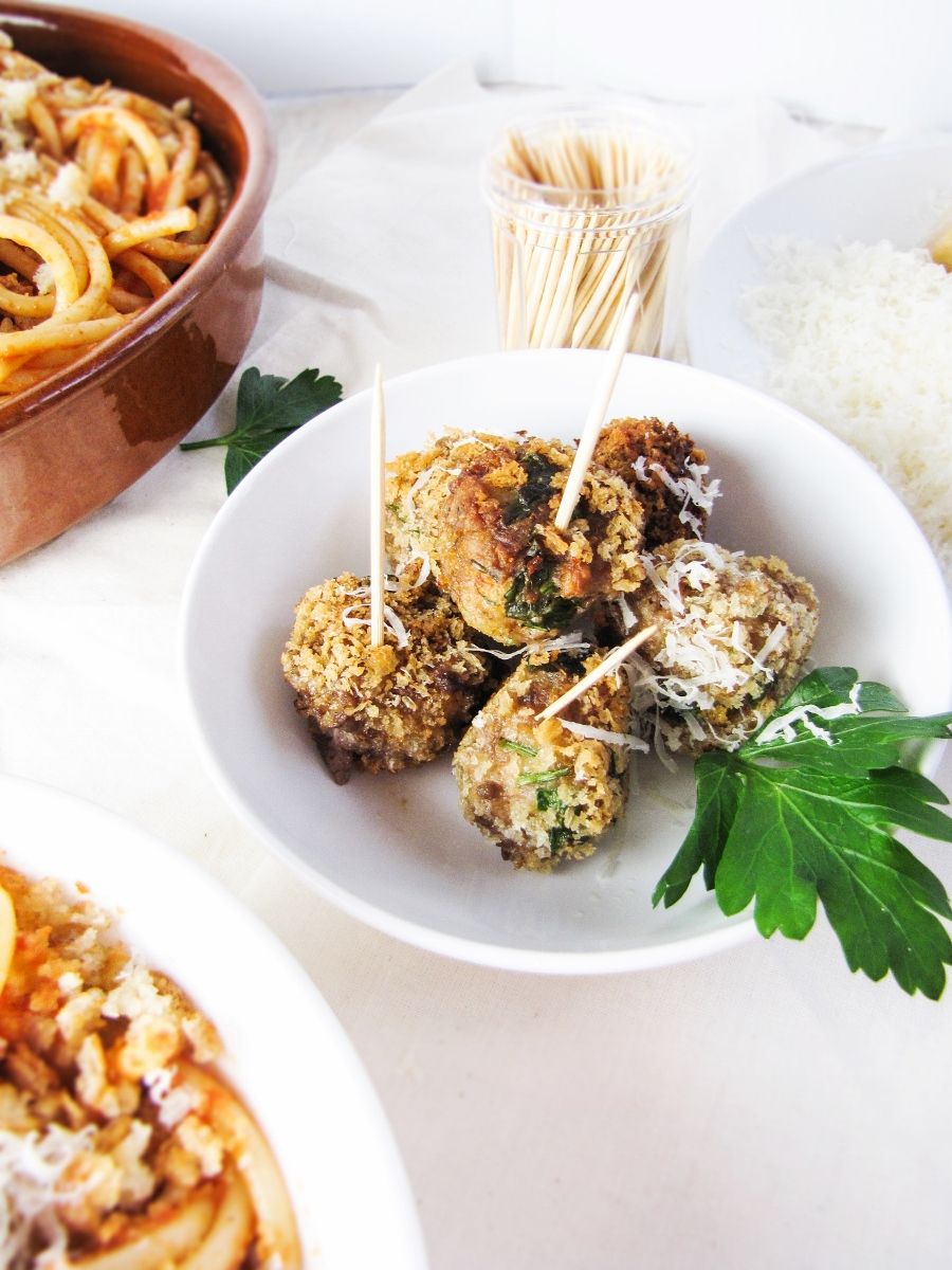 Fried Venetian Meatballs with Parmesan {Katie at the Kitchen Door}