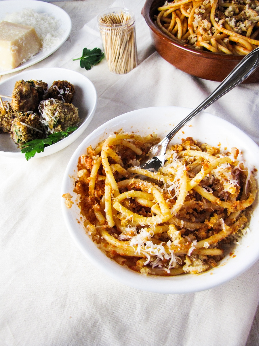 Spaghetti with Anchovies, Breadcrumbs, and Garlic {Katie at the Kitchen Door}
