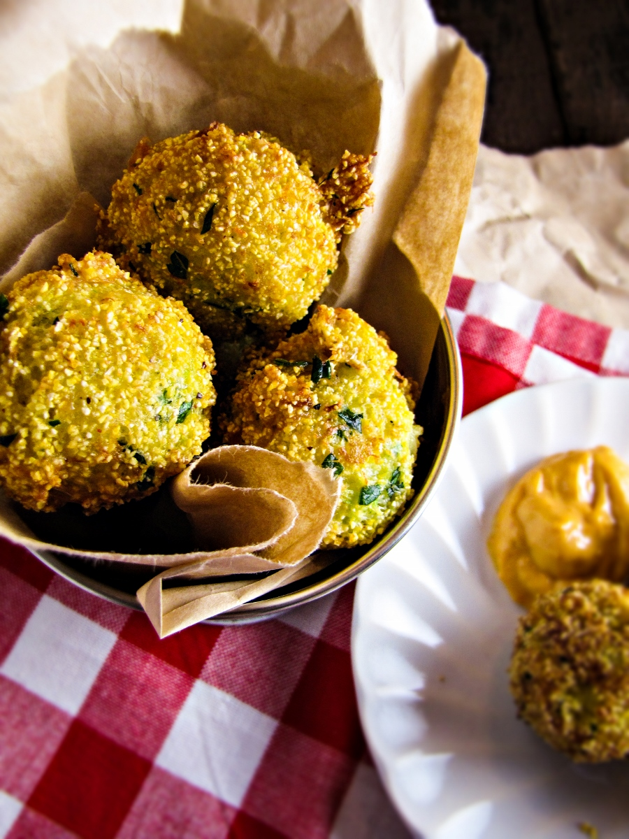 Broccoli-Cheddar Hushpuppies with Sriracha Aioli {Katie at the Kitchen Door}