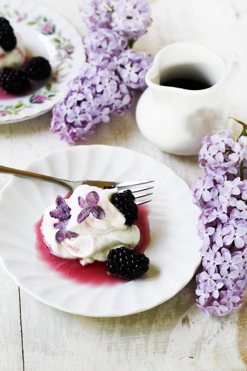 Book Club: Cooking with Flowers // Lilac and Blackberry Pavlovas