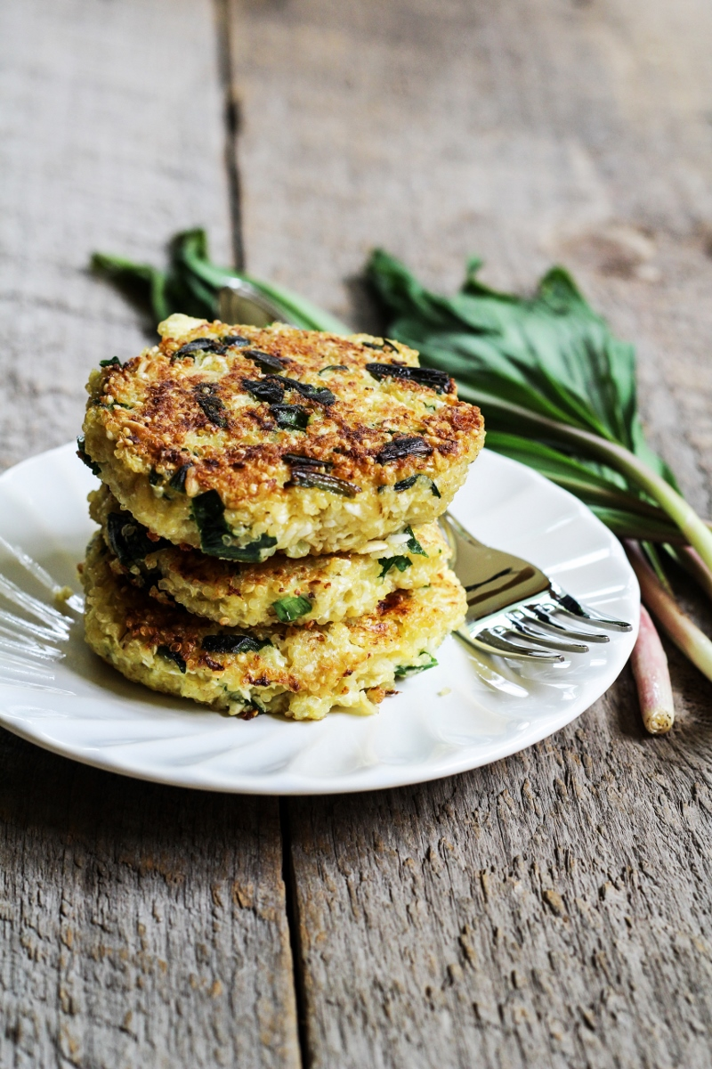 Quinoa and Cauliflower Cakes with Ramps and Feta {Katie at the Kitchen Door}