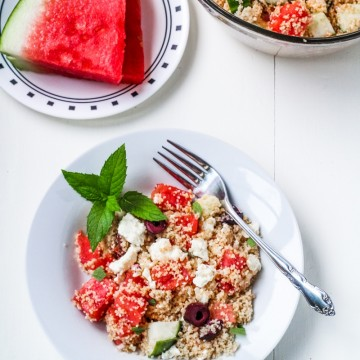 Greek Couscous Salad with Watermelon and Feta {Katie at the Kitchen Door}