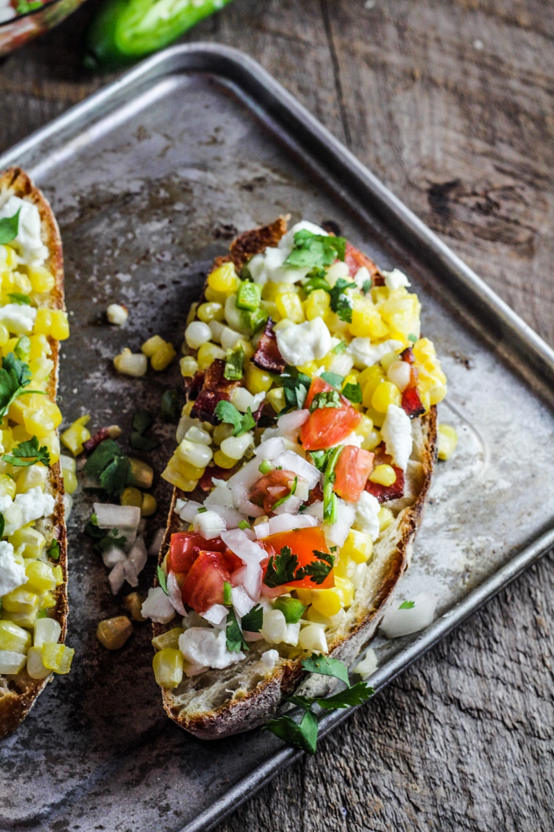 Goodbye, Hello! // Corn, Jalapeno, and Goat Cheese Tartine