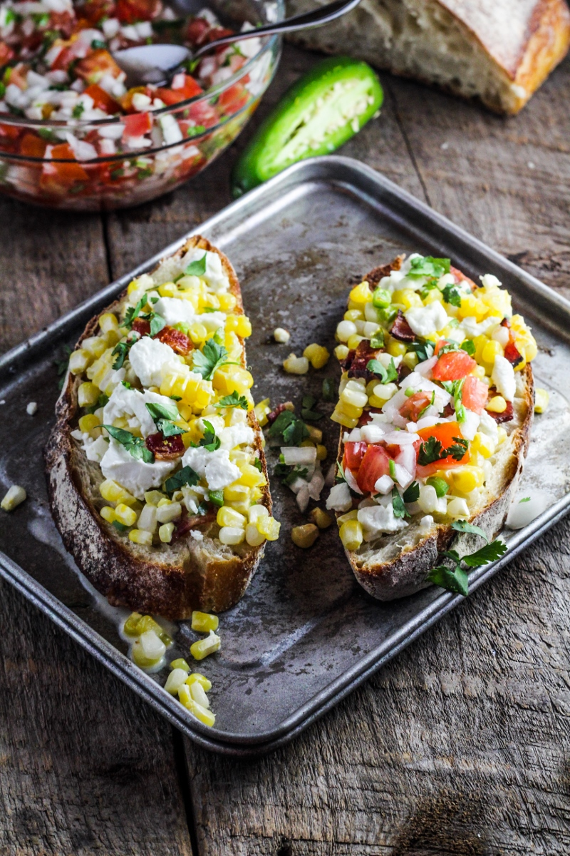 Corn, Goat Cheese, and Jalapeno Tartines {Katie at the Kitchen Door}