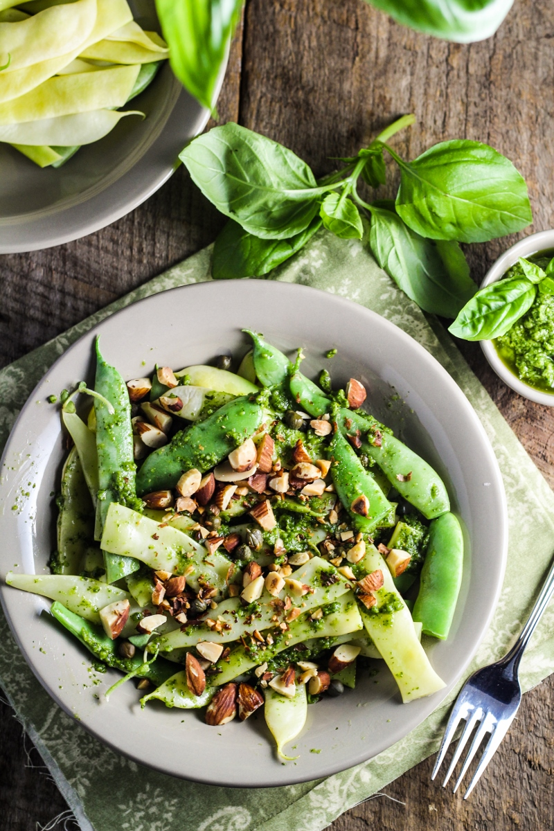 Green Beans with Pesto, Capers, and Almonds {Katie at the Kitchen Door}