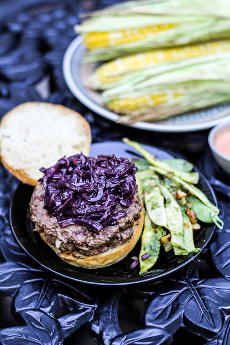 Blue-Cheese Stuffed Burgers with Red Onion Marmalade {Katie at the Kitchen Door}