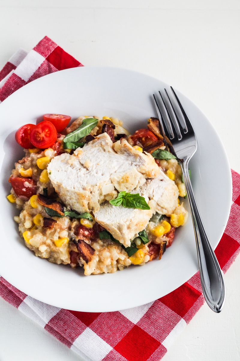 Creamy Summer Chicken with Corn, Tomatoes, and Bacon