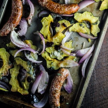 Roast Acorn Squash, Sausage, and Onions