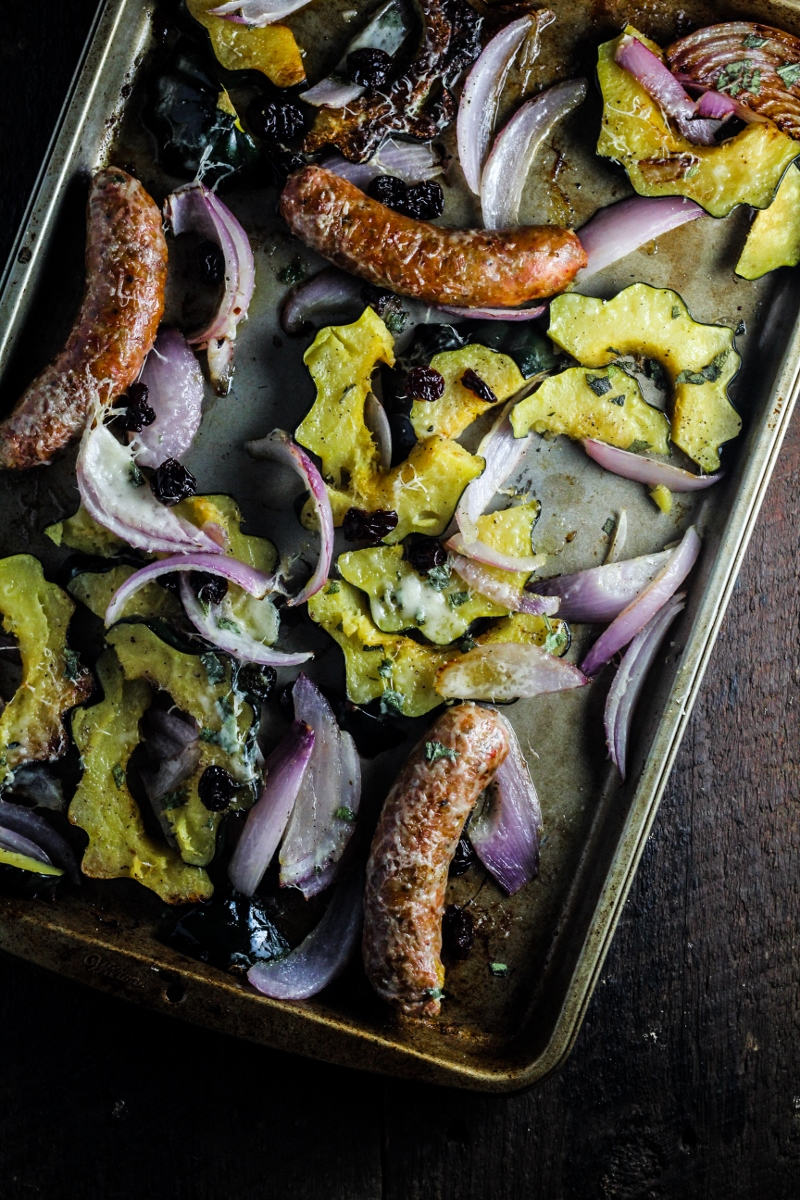 An Easy Fall Dinner // Roast Acorn Squash, Sausage, and Onions
