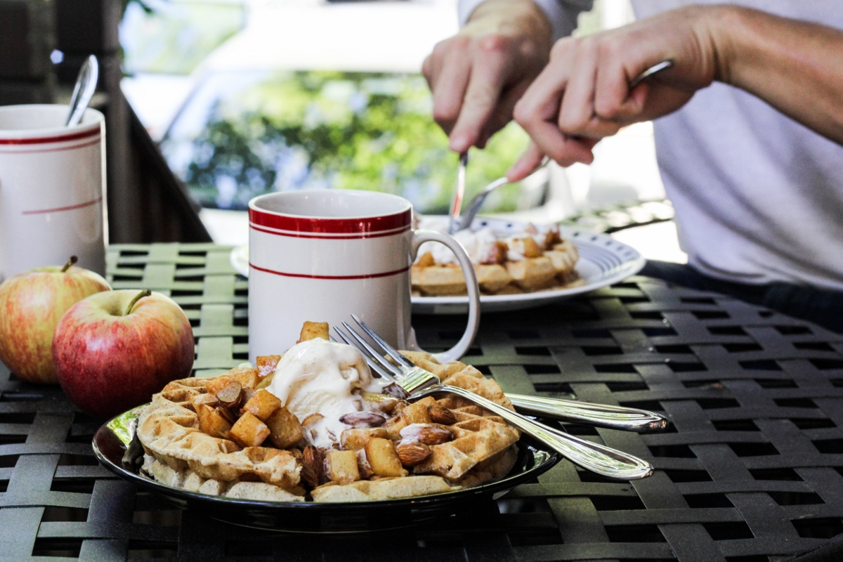 Cinnamon-Almond Waffles with Apple Pie Topping {Katie at the Kitchen Door}