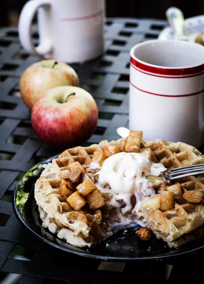 Better Breakfast Month and Giveaway // Cinnamon-Almond Waffles with Apple Pie Topping