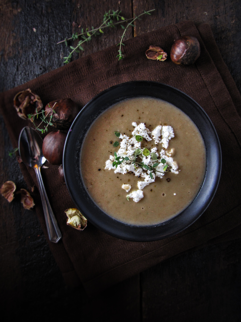 15 Favorite Fall Recipes - Roasted Chestnut and Potato Soup with Goat Cheese