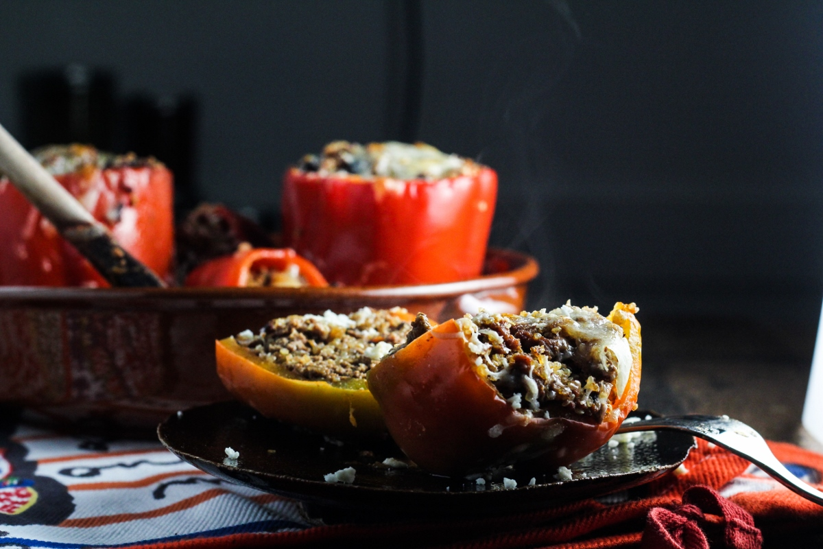 Quinoa, Black Bean, and Ground Beef Stuffed Peppers {Katie at the Kitchen Door}