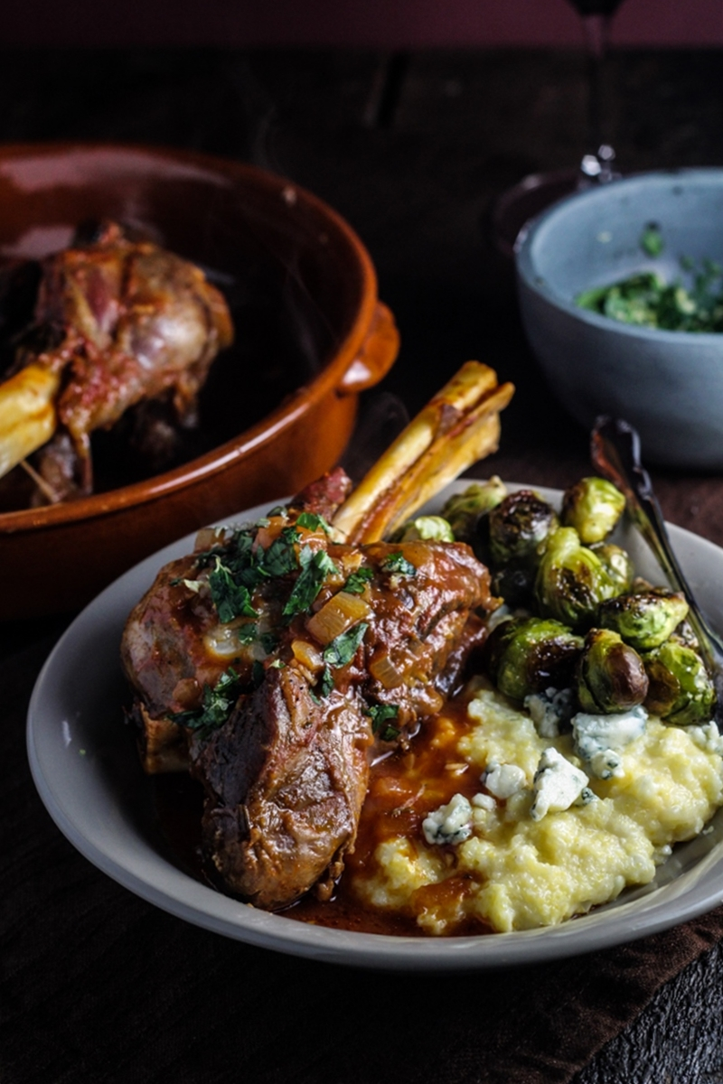 Sunday Dinner // Braised Lamb Shanks with Fresh Corn and Blue Cheese Polenta, Brussels Sprouts, and Classic Apple Pie
