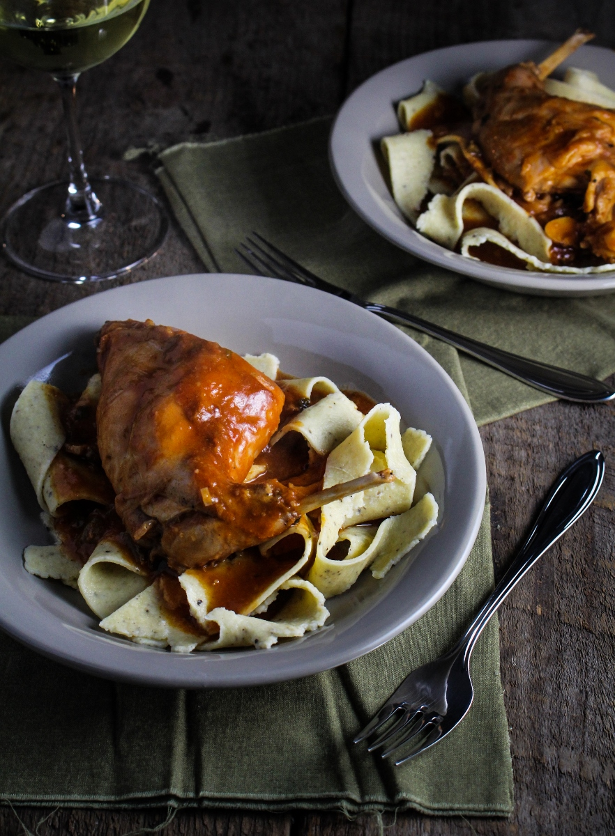 Rabbit Cacciatore with Black Pepper Pappardelle {Katie at the Kitchen Door}