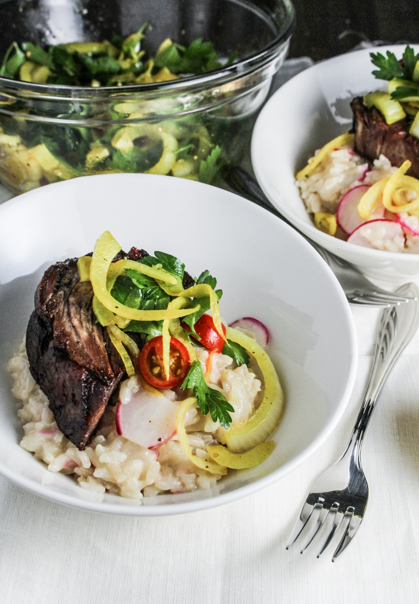 5-Hour Lamb, Pecorino and Radish Risotto, Curry-Pickled Fennel {Katie at the Kitchen Door}