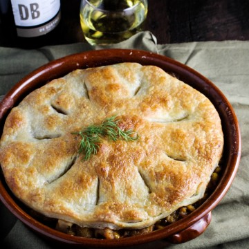 Creamed Dill Chicken Pot Pie with Puff Pastry {Katie at the Kitchen Door}