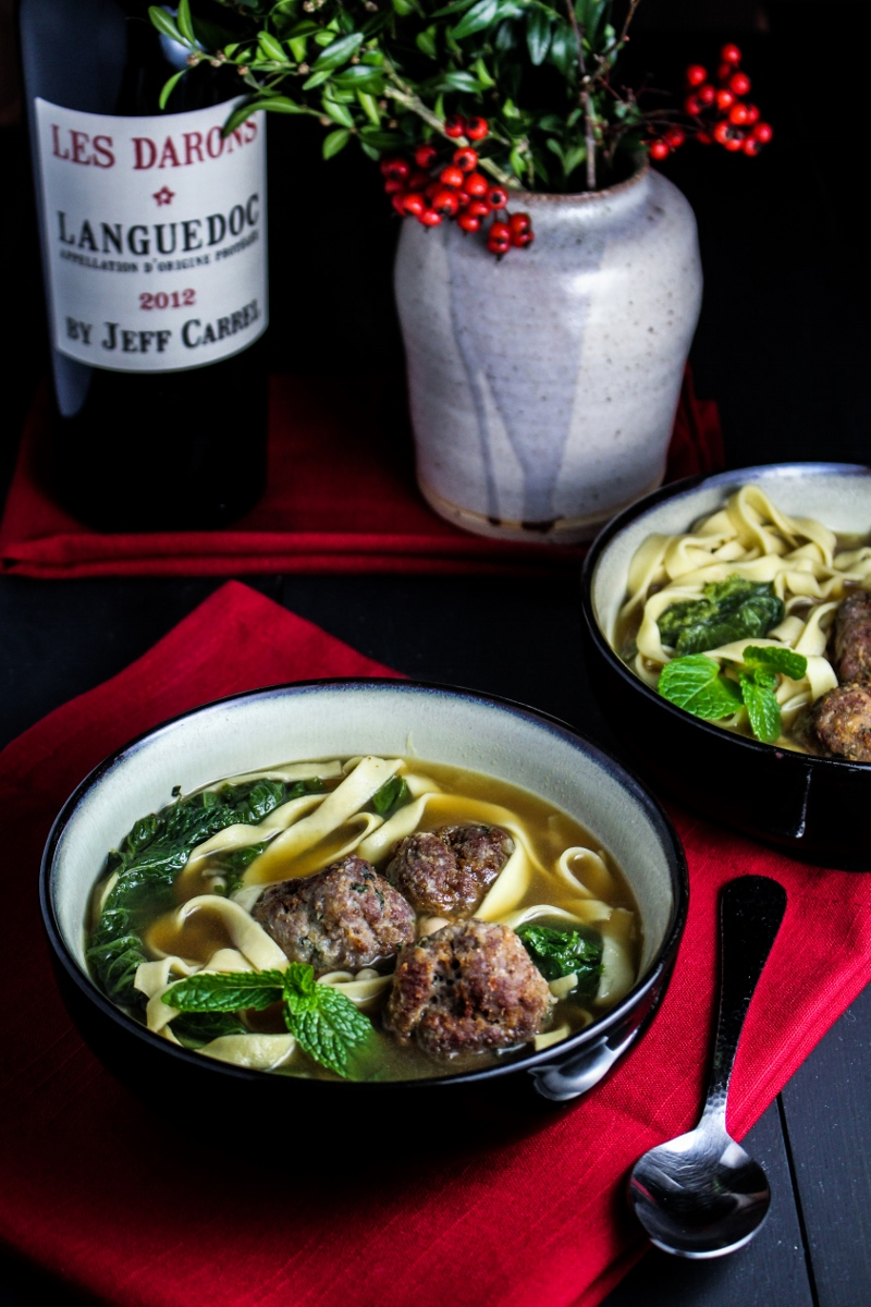 Italian Wedding Soup with Lamb Meatballs {Katie at the Kitchen Door}