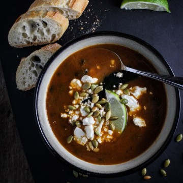 Roasted Poblano and Black Bean Soup {Katie