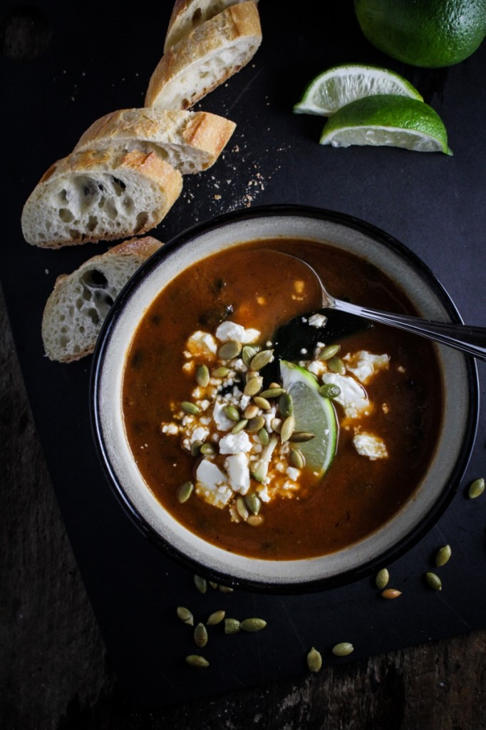 10 Healthy Winter Recipes - Roasted Poblano and Black Bean Soup {Katie at the Kitchen Door}