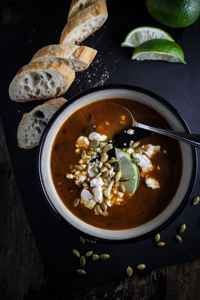 Winter Cleanse 2014: Healthy Dinner Recipes - Roasted Poblano and Black Bean Soup {Katie at the Kitchen Door}