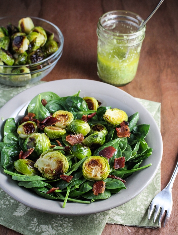 Winter Cleanse 2014: Healthy Dinner Recipes - Roasted Brussels Sprouts and Bacon Salad {Katie at the Kitchen Door}
