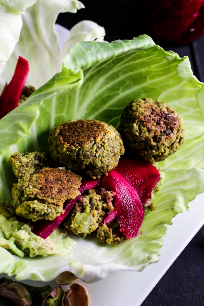 Baked Herb and Pistachio Falafel with Quick-Pickled Turnips {Katie at the Kitchen Door}