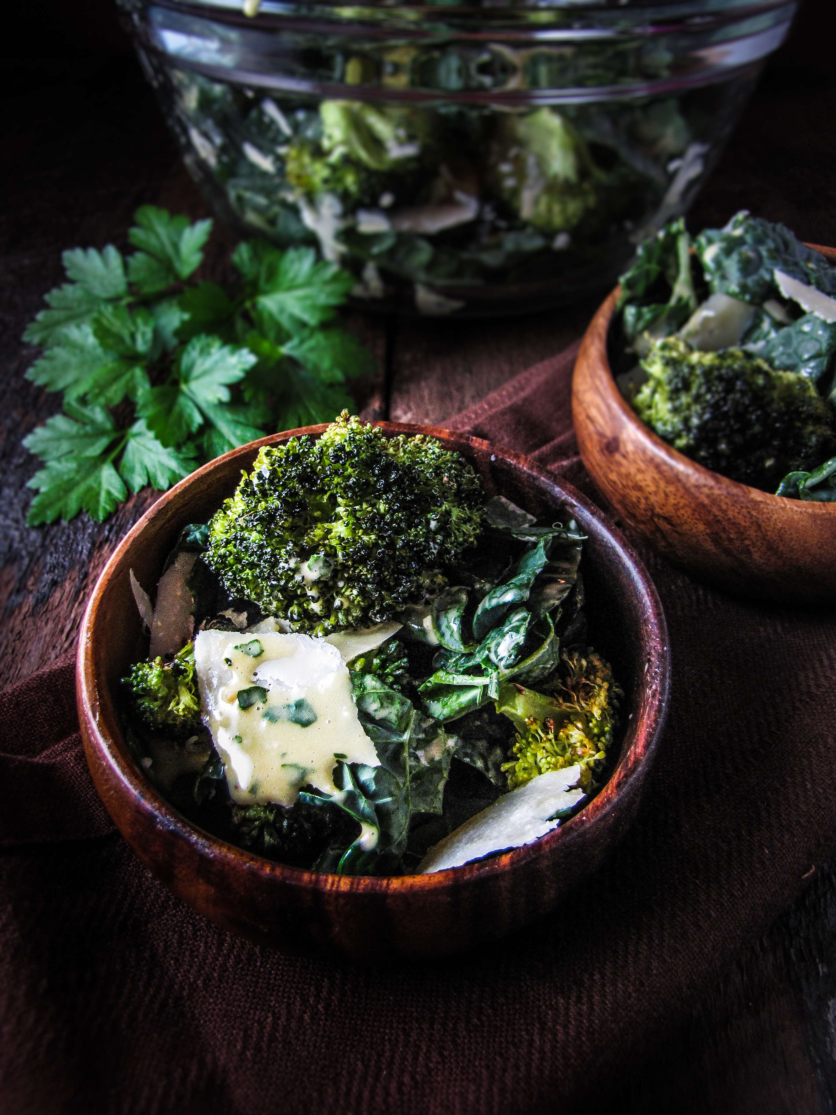 Healthy Winter Recipes - Roasted Kale and Broccoli Caesar