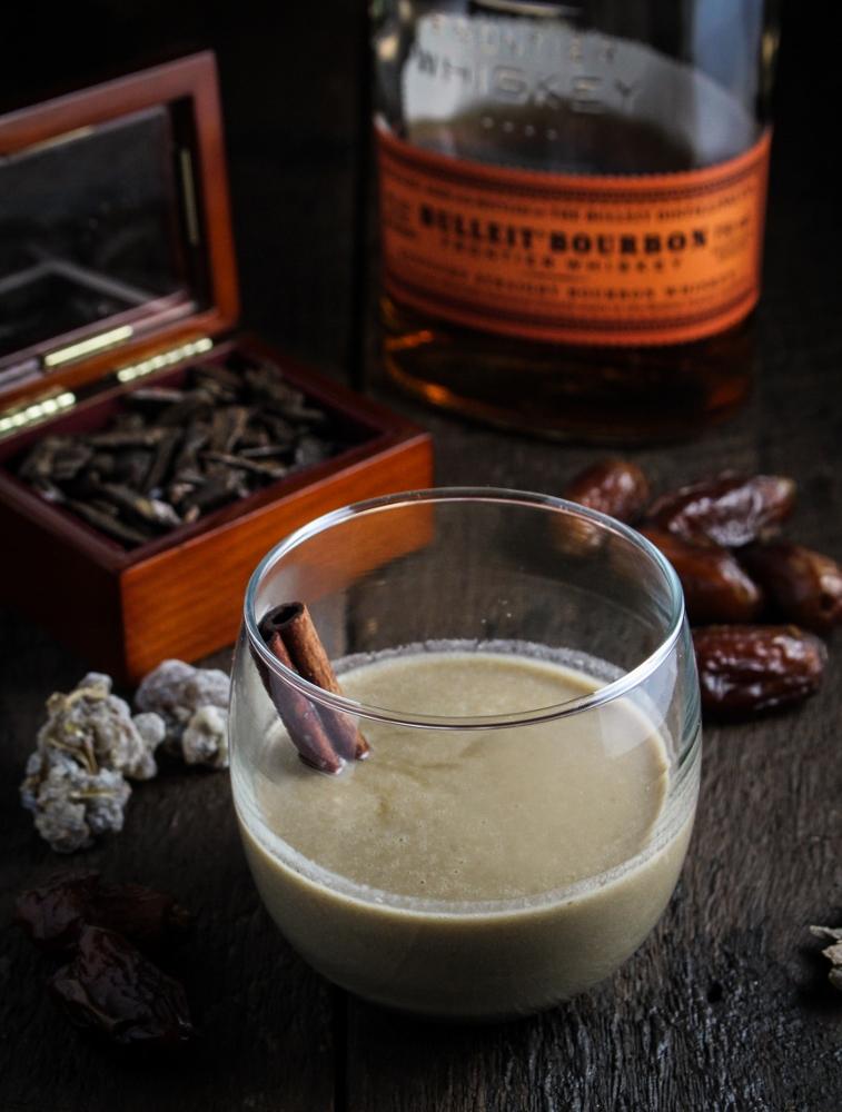 12 Festive Winter Cocktails  - 1,001 Kentucky Nights - Dates, Coconut Milk, Bourbon, and Rum {Katie at the Kitchen Door}