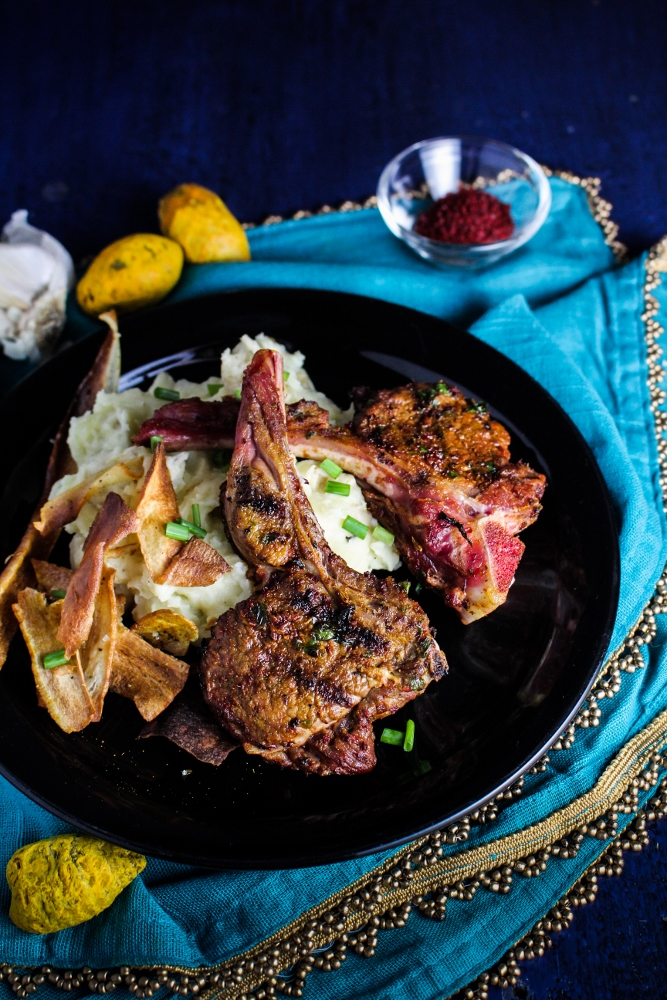 Grilled Mint-and-Sumac Goat Chops with Tahini Sauce {Katie at the Kitchen Door}