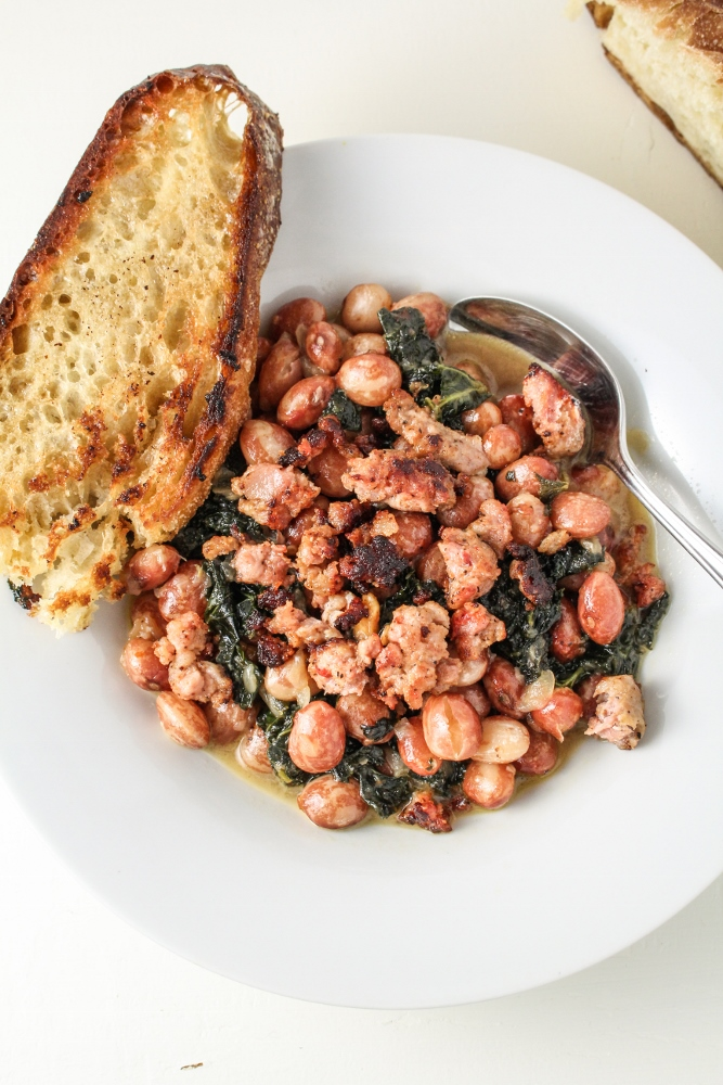 Another Garden Season // Parmesan Beans with Kale and Sausage