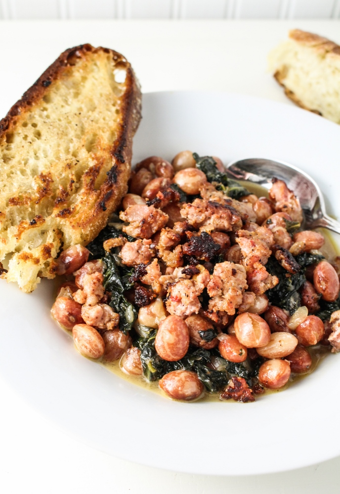 Parmesan Beans with Kale and Sausage {Katie at the Kitchen Door}