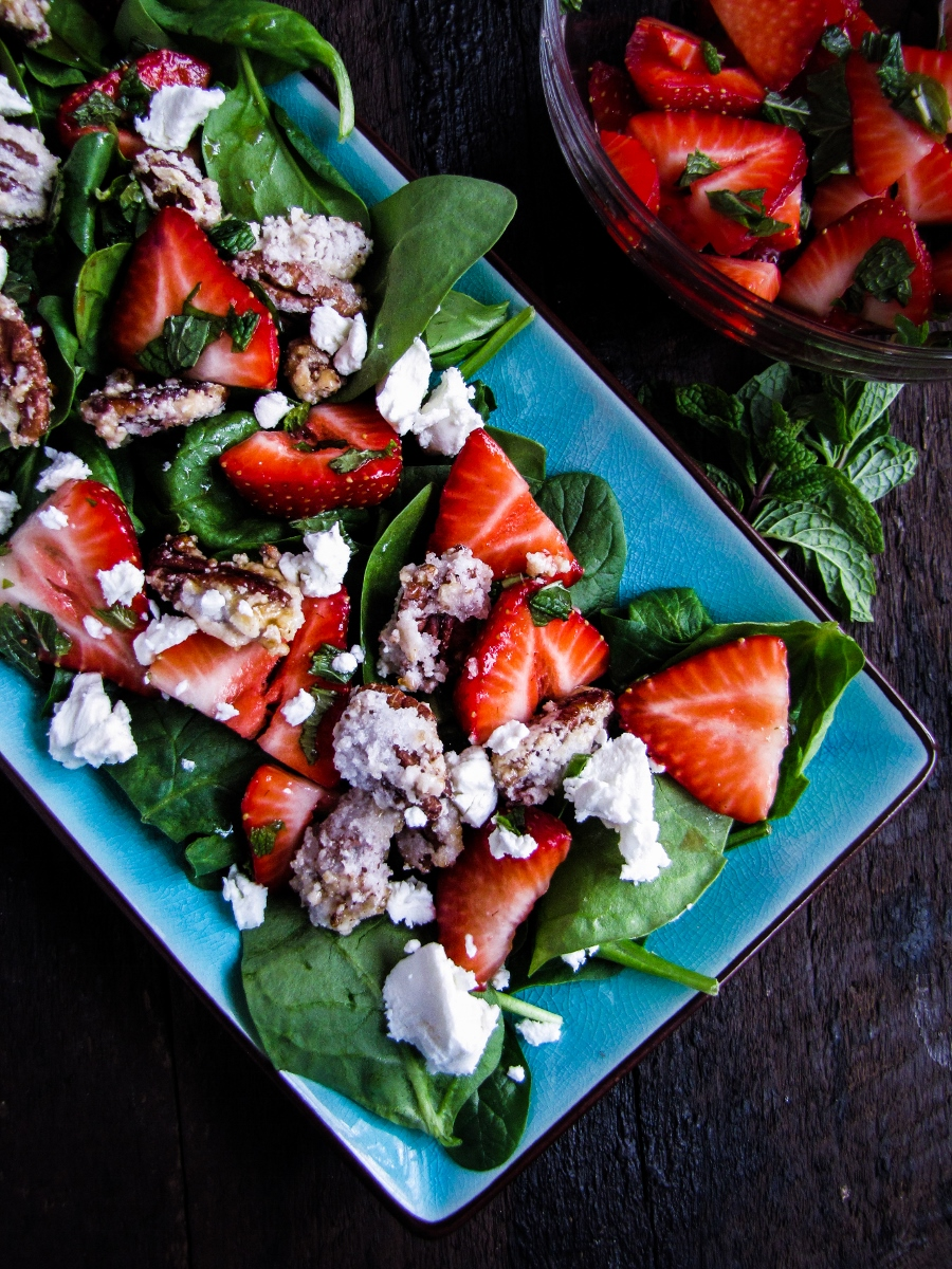 13 Recipes for Spring - Strawberry Balsamic Salad with Candied Pecans and Goat Cheese {Katie at the Kitchen Door}