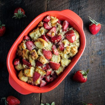 Strawberry-Bourbon Bread Pudding with White Chocolate Sauce {Katie at the Kitchen Door}