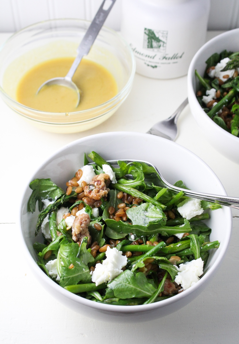 Monthly Fitness Goals: May // Warm Arugula Salad with Maple-Mustard Dressing