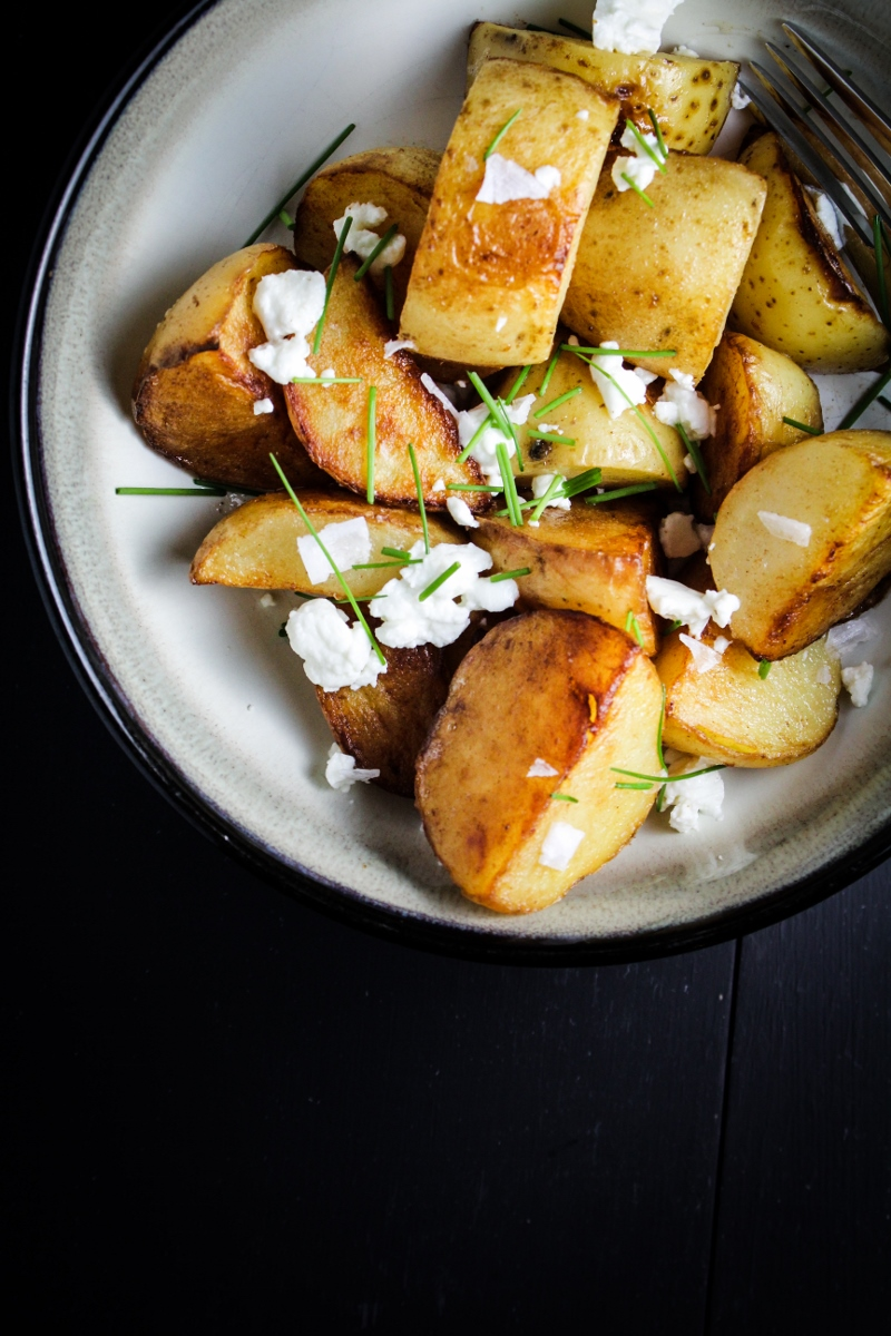 Crispy Sea Salt and Vinegar Potatoes with Goat Cheese and Chives {Katie at the Kitchen Door}