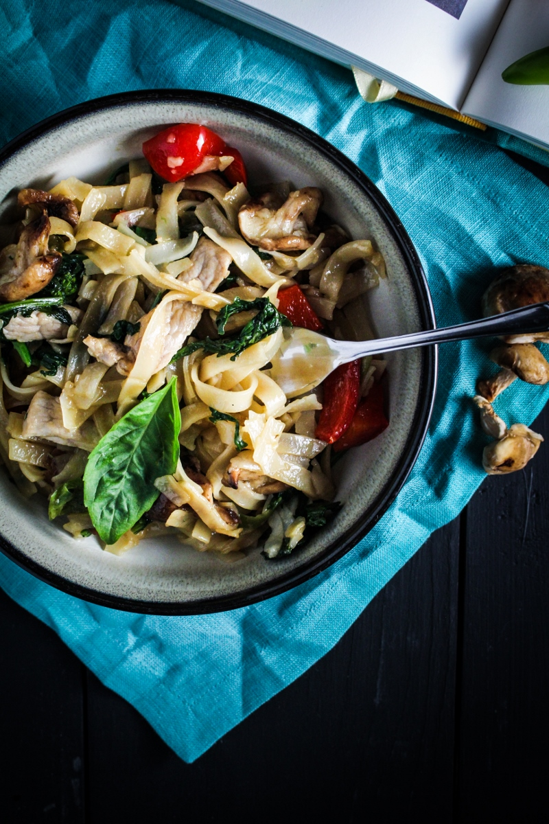 Thai Drunken Noodles with Pork {Katie at the Kitchen Door}