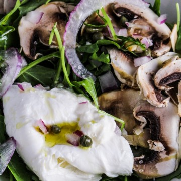 Arugula Salad with Burrata, Shaved Mushrooms, and Truffle Oil {Katie at the Kitchen Door}