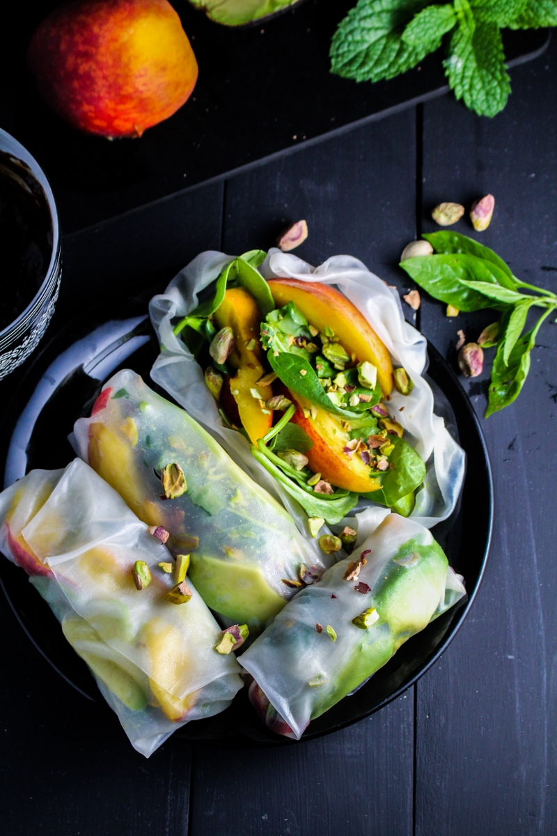 Peach and Avocado Summer Rolls {Katie at the Kitchen Door}